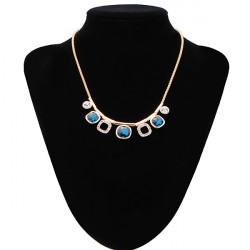 Blue Gem Crystal Rhinestone Short Pendant Chain Necklace Gold Plated