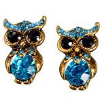 Blå Dejlig Crystal Rhinestone Owl Stud Øreringe for Kvinder Damesmykker
