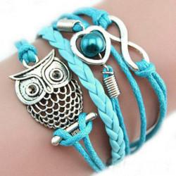 Blå Multi Hjärta Infinity Uggla Flätat Läderarmband
