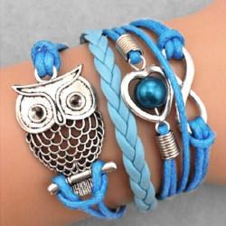 Blå Multi Uggla Infinity Pärl Flätat Läderarmband