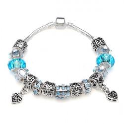 Blue Murano Glaspärlor Crystal Armband 925 Silverpläterade