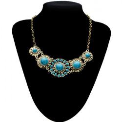 Bohemia Blue Gem Flower Alloy Short Pendant Necklace Women Jewelry