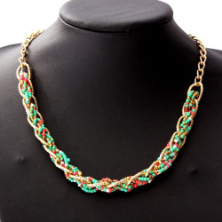 Bohemia Colorful Hand Woven Bib Small Beads Statement Collar Necklace