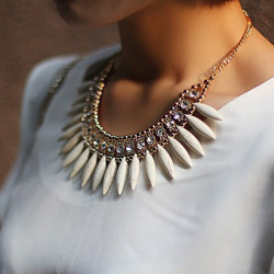 Bohemia Crystal Pendant Chain Choker Statement Necklace For Women
