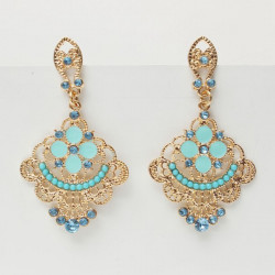 Bohemia Gold Hollow Flower Crystal Dangle Drop Earrings For Women