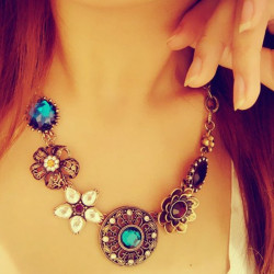 Bohemia Turquoise Crystal Blommor Bib Choker Statement Necklace