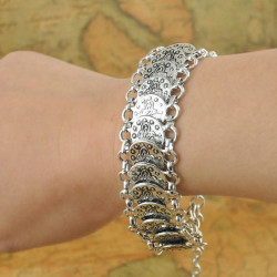 Bohemian Antique Silver Coin Charm Armband för Kvinnor