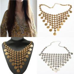 Bohemian Gypsy Antike Münze Quaste Statement Halsketten für Frauen