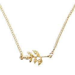 Zweig Baum Blätter Anhänger Halskette für Frauen Gold Silber
