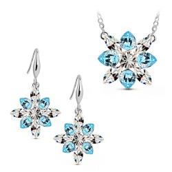 Bridal Crystal Snowflake Pendant Jewelry Sets Necklace Earrings