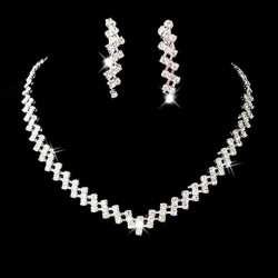Bridal Square Crystal Thick Chain Necklace Earrings Jewelry Set White