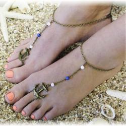 Brons Anchor Pärlor Anklet Foot Beach Armband för Kvinnor