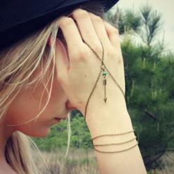 Brons Cupid Arrow Turquoise Bead Chain Ring Armband Dam Smycken