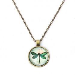 Bronze Silber Libelle Glascabochon Anhänger Kette Halskette