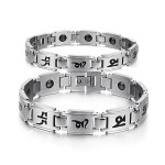 Buddhist Mantra Titanium Steel Energy Magnetic Stone Couple Bracelet Fine Jewelry
