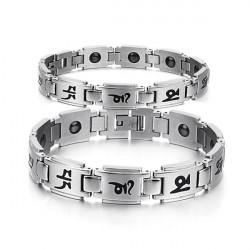 Buddhist Mantra Titanium Steel Energy Magnetic Stone Couple Bracelet