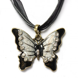 Butterfly Rhinestone Necklace Silk Ribbon Chain Clavicle Necklace