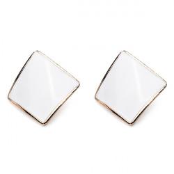 Candy Color Alloy Oil Rhombus Ear Stud Earrings Women Jewelry