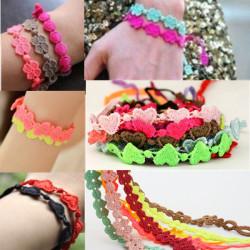 Candy Färg Clover Rosett Infinity Hjärta Lace Weave Armband