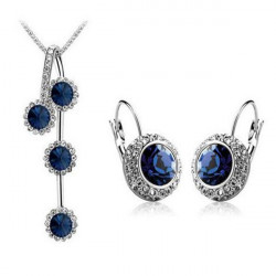 Circle Crystal Earrings Necklace Jewelry Sets Silver Gold Plated