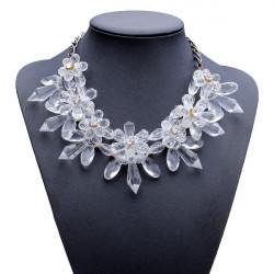 Klar Kristallblumen Halskette Acryl Opulente Halskette Metallkette