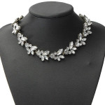 Clear Crystal Leaf Bib Statement Necklace Metal Chain Choker Women Jewelry