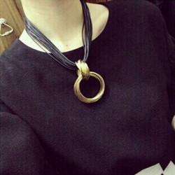 Cluster Vintage Kors Alloy Cirkel Hängsmycke Läder Chain Necklace