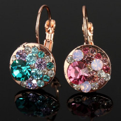 Colorful Austrian Crystal Round Stud Earrings 18K Rose Gold Plated