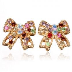 Bunte Kristall Rhinestonebowknot Gold überzogene Ohrring Ohr Bolzen
