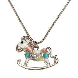 Farverige Opal Rhinestone Hollow Horse Vedhæng Halskæde