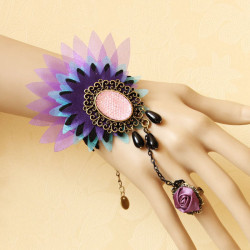 Colorful Peacock Lace Flower Crystal Ring Bracelet Wristband