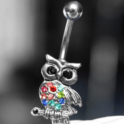 Colorful Rhinestone Owl Dangle Navel Belly Ring Piercing Body Jewelry