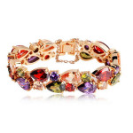 Bunte Zircon Pfirsich Herz Gold 24K Rose Gold überzogen Frauen Armband Schmucksachen