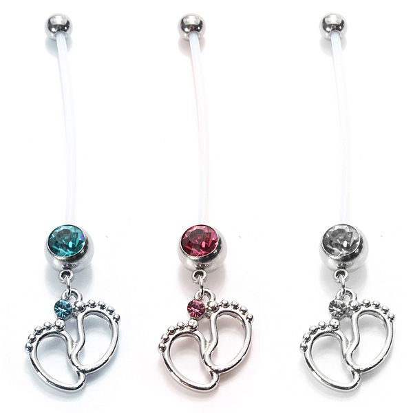 Crystal Baby Feet Charm Navel Belly Ring Body Piercing Jewelry Women Jewelry