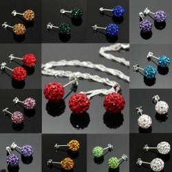 Crystal Ball Pärla Hängande Halsband Örhängen Smycke Set för Kvinnor
