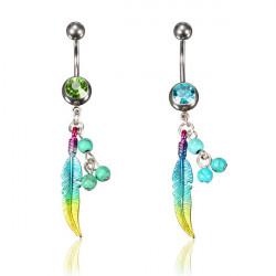 Crystal Pärlor Feather Dangle Navel Ring Piercing Smycken