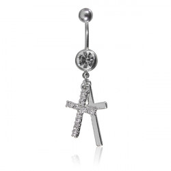 Kristall Double Cross Bauchnabel Ring Körper Piercing