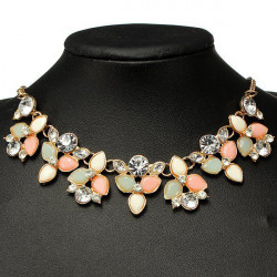 Crystal Flower Leaf Bib Statement Necklace Choker Metal Chain
