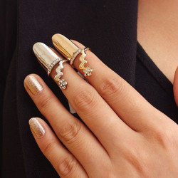 Crystal Flower Nail Ring Alloy Polishing Opening Finger Ring