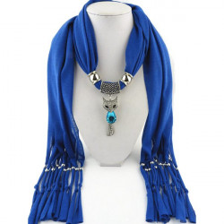Crystal Fox Pendant Tassel Scarf Necklace Women Jewelry Autumn Winter