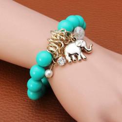 Crystal Pärl Elefant Hängande Pärlor Berlockarmband Guldpläterad