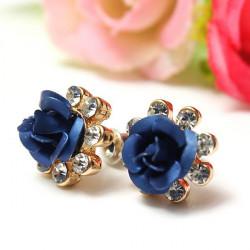 Kristallrhinestone Blaue Rosen Blumen Ohr Bolzen Ohrringe für Frauen