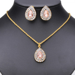 Crystal Rhinestone Peach Heart Pendant Earrings Necklace Set