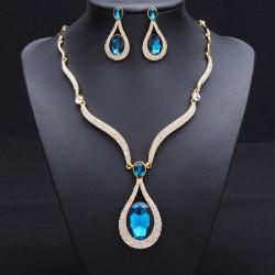 Crystal Rhinestone Vatten Droppe Bröllop Smyckeset Halsband Örhängen