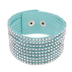 Kristall Strass breite Lederarmband Armband Frauen Schmuck