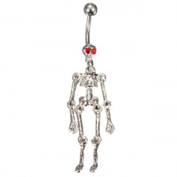 Crystal Skull Skeleton Dingla Navel Belly Ring Piercing Kroppssmycken