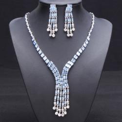 Crystal Tassel Necklace Earrings Wedding Jewelry Set For Women