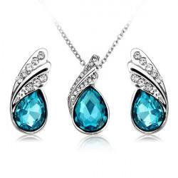Crystal Vattendroppe Halsband Örhängen Smycke Set Silverpläterad Smycken
