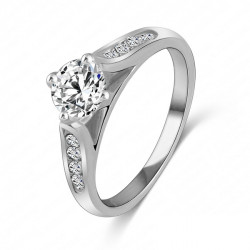 Crystal Zircon Engagement Wedding Ring 18K Platinum Plated