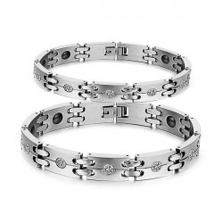Crystals 316L Stainless Steel Health Care Magnetic Couple Bracelet